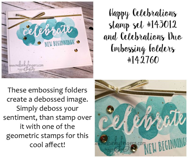 Using the Celebrations Duo embossing folders and the Happy Celebrations stamp set