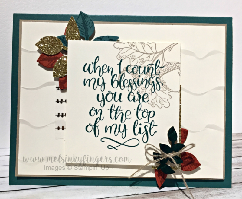 Count My Blessings stamp set and colored Touches of Nature Elements veneer embellishments