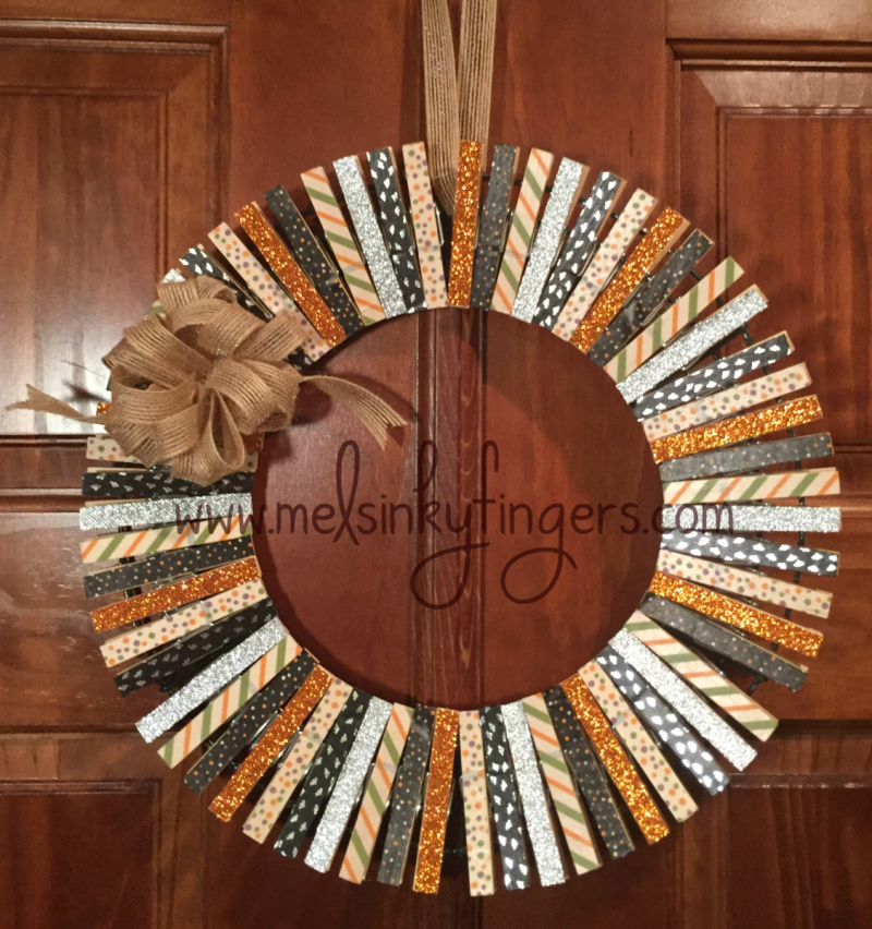 Sparkly Halloween Wreath made with Halloween Night Washi Tape, Pumpkin Pie Glimmer Paper, Burlap Ribbon and Silver Glitter Ribbon
