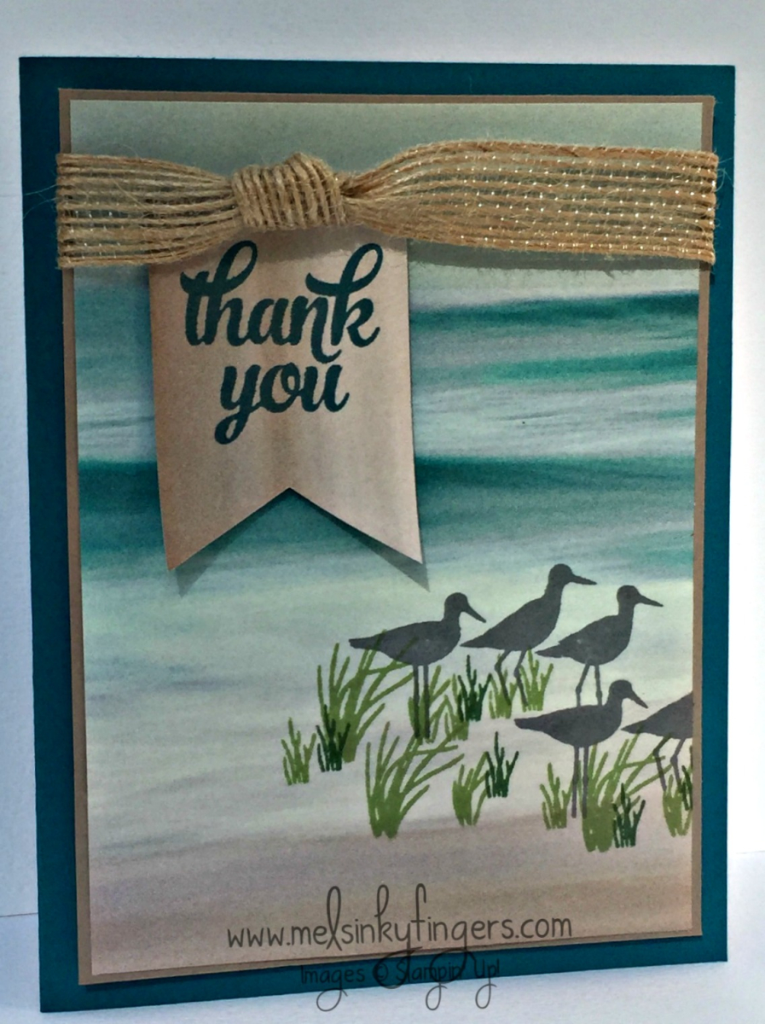 High Tide Stamp set, Serene Scenery designer series paper, and Burlap Ribbon