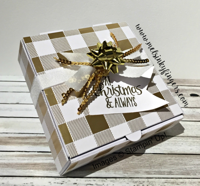 Mini pizza box with Year of Cheer designer series paper, mini gold sequin trim, and mini gift bows