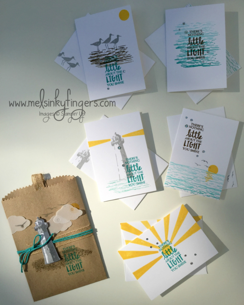 High Tide Notecard Gift Set using the High Tide stamp set and Bermuda Bay Ombre pad, packaged in a Kraft gift bag.