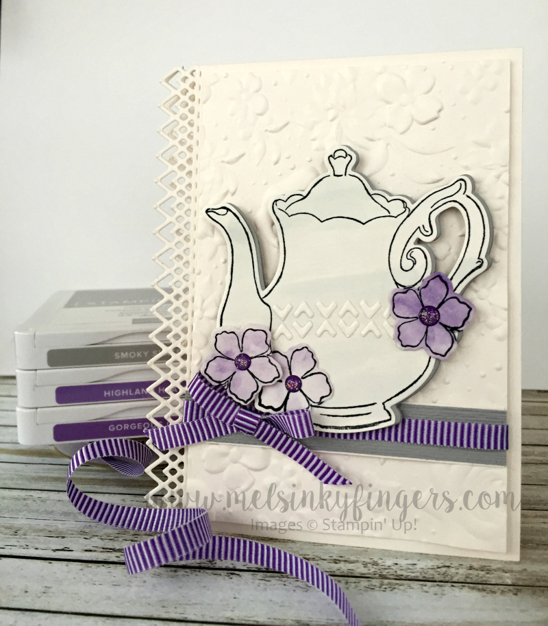 Tea Together stamp set with the FREE Sale-A-Bration Tea Time framelit dies and Country Floral embossing folder.  The Delicate Lace edgelit dies add a gorgeous edge detail!