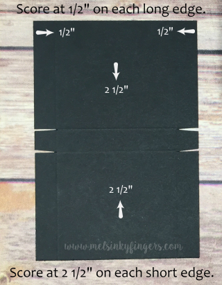 "Cut your Basic Black cardstock 3  3/4"" x 5  1/2"" and score as shown."