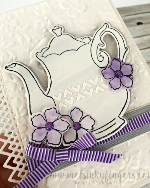Tea Together stamp set, Tea Time framelits, Country Floral embossing folder and Delicate Lace edgelit dies