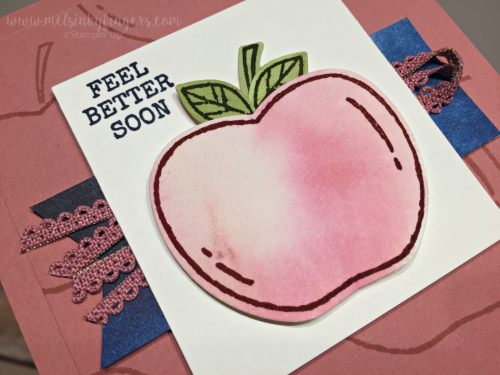 After watercoloring on the new Fluid 100 watercolor paper, I stamped and punched the apple, leaves and stem.