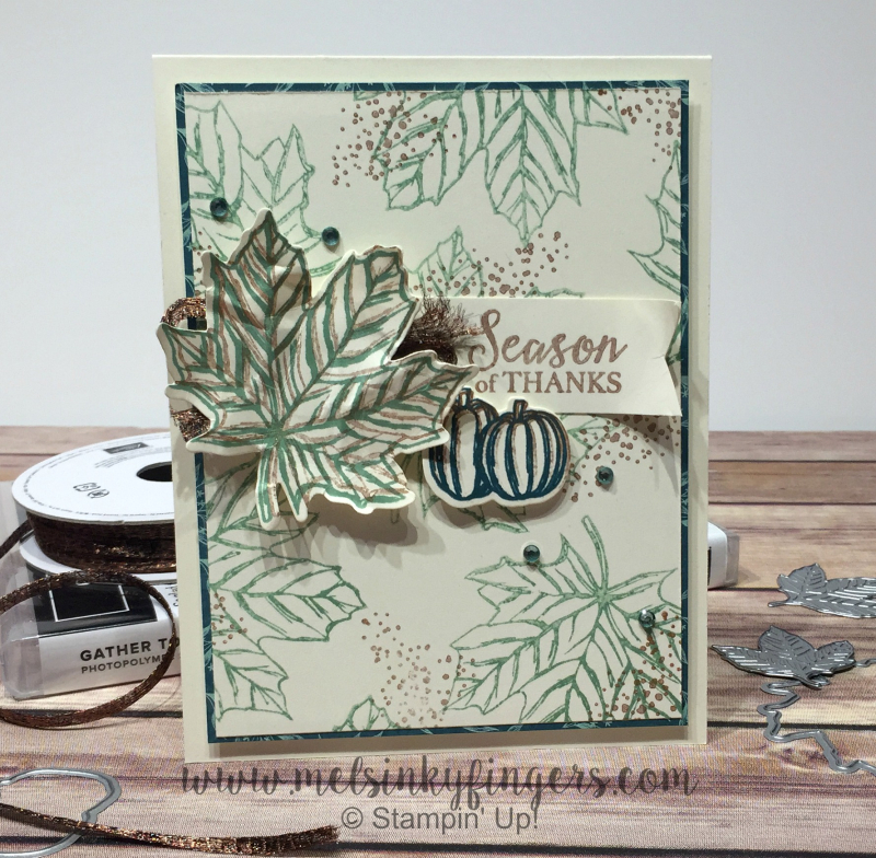 The Come To Gather product suite has a stamp/die bundle, gorgeous designer paper, beautiful ribbon, and fun veneer elements!