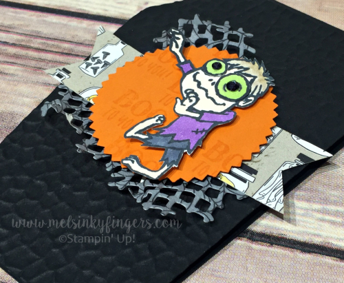 Boo To You stamp set, Monster Bash designer paper and hammered metal embossing folder from the 2019 Stampin' Up! Holiday catalog