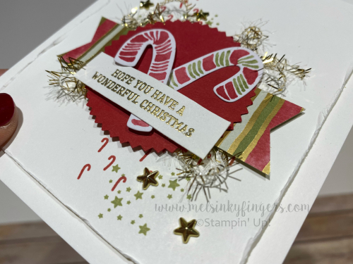 Adding gold heat embossing brings all the gold accents together!