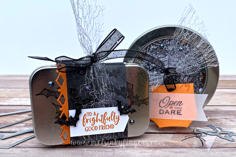 Fun Halloween treat tins made with the Magic in this Night product Suite and the Ghoulish Goodies stamp set.